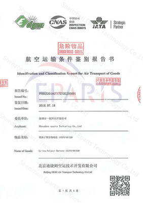 Identification and Classification Report for Air Transport of Goods